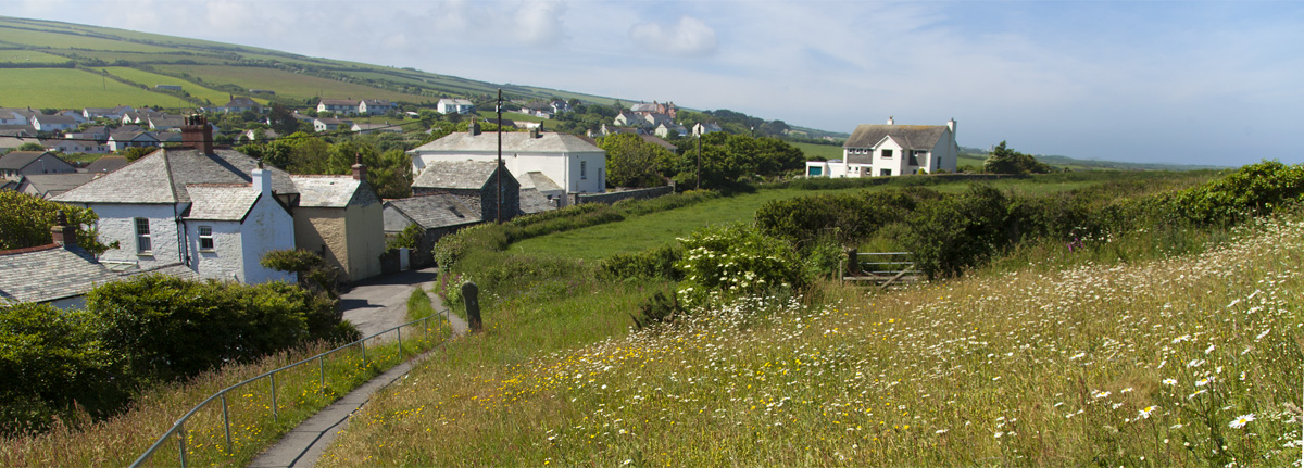 View of Boscastle from Forrabury Church, Melbourne Cottage